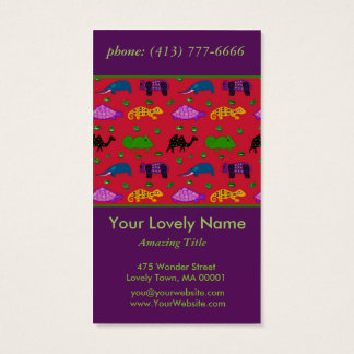 Animals Abstract Purple Turtles and Blue Elephants Business Card