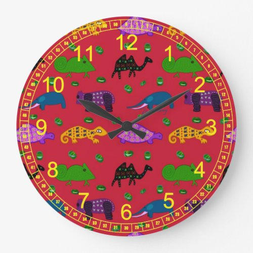Animals - Abstract Purple Turtles & Blue Elephants Large Clock