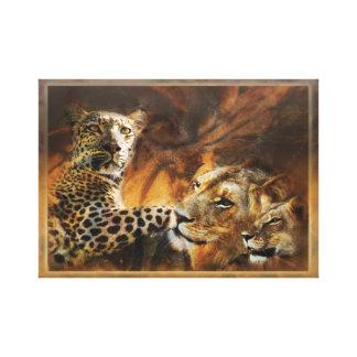 Animals Africa - leopard n lion art Canvas Print
