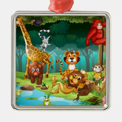 Animals and forest square metal christmas ornament zazzle