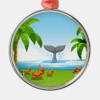 Animals and ocean metal ornament