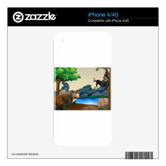 Animals and river iPhone 4 skin