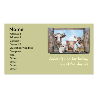 Animals are for loving business card templates
