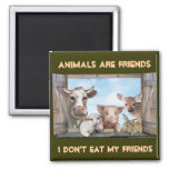 Animals are Friends 2 Inch Square Magnet