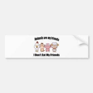 Animals are my friends bumper sticker