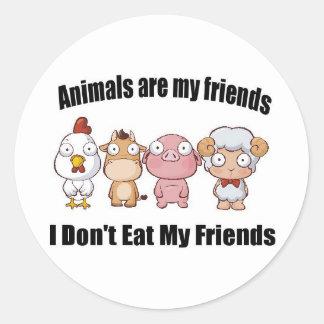 Animals are my friends classic round sticker