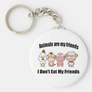 Animals are my friends keychain