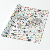 Animals Around the World Map Wrapping Paper