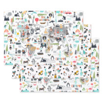 Animals Around the World Map Wrapping Paper Sheets