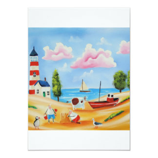 Animals at the beach cow and sheep Gordon Bruce Card