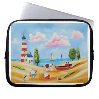 Animals at the beach cow and sheep Gordon Bruce Laptop Sleeve