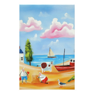 Animals at the beach cow and sheep Gordon Bruce Stationery