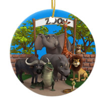 Animals at the Zoo Ceramic Ornament