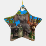Animals at the Zoo Double-Sided Star Ceramic Christmas Ornament