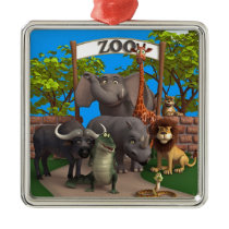 Animals at the Zoo Metal Ornament