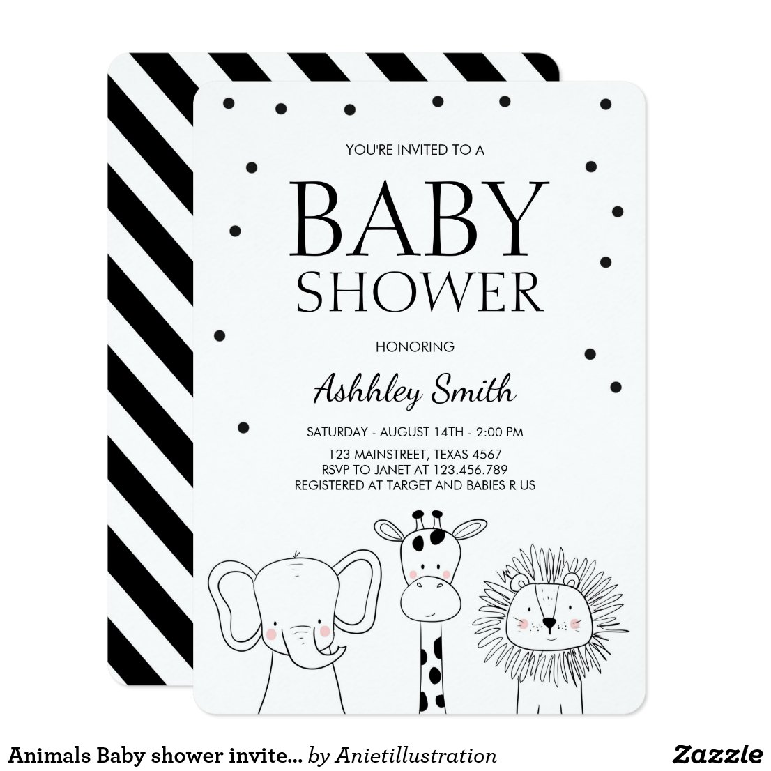 Animals Baby shower invite Zoo Safari Jungle