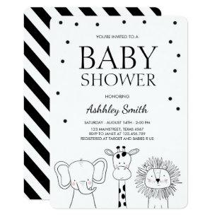 Black and white baby shower invitations zazzle animals baby shower invite zoo safari jungle filmwisefo