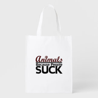 Animals Because People Suck Grocery Bag