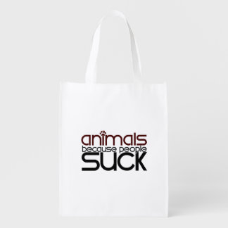 Animals Because People Suck Reusable Grocery Bag