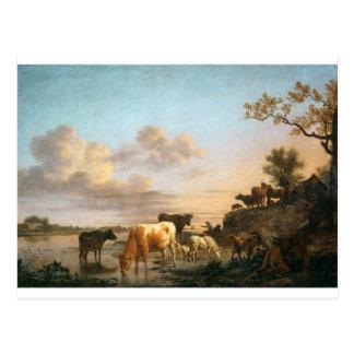 Animals by the River by Adriaen van de Velde Postcard