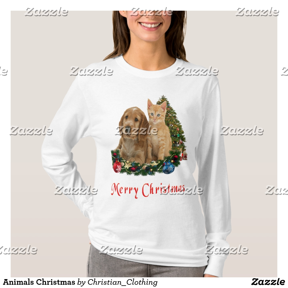 Animals Christmas t-shirts - Best Selling Long-Sleeve Street Fashion Shirt Designs