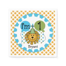 Animals Circus Lion 1st Birthday Paper Napkins