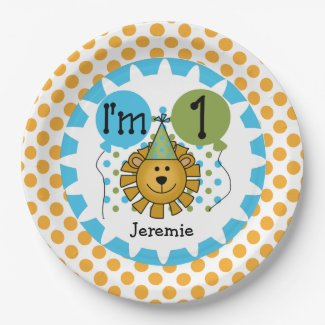 Animals Circus Lion 1st Birthday Paper Plates 9 Inch Paper Plate