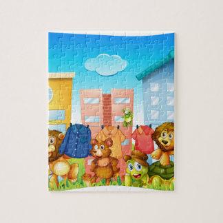 Animals doing laundry outside jigsaw puzzle