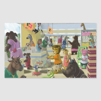 animals doing their shopping at a supermarket rectangular sticker