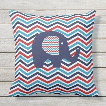 USA Themed Animals Elephant Red White Blue Chevron Stripe Throw Pillow