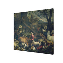 Animals Entering the Ark (oil on canvas) Canvas Print