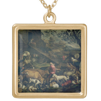 Animals Entering the Ark (oil on canvas) Gold Plated Necklace