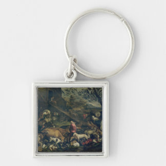 Animals Entering the Ark (oil on canvas) Keychain