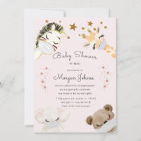 animals face mask Baby Shower by mail invitation