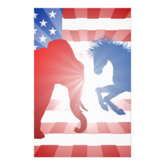 Animals Fighting American Election Concept Stationery