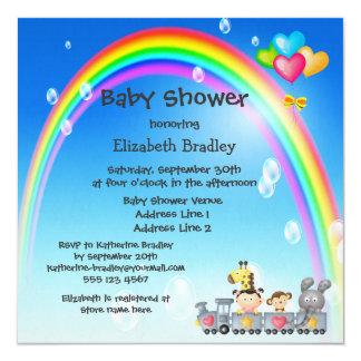 Animals, Girl, Train & Rainbow Baby Shower Custom Invitation
