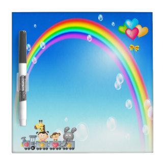 Animals, Girl, Train & Rainbow Dry Erase Board