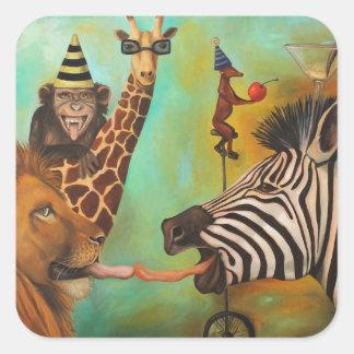 Animals Gone Wild Square Sticker