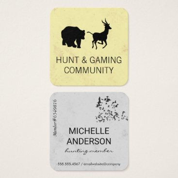 Professional Business Animals / Hunting Community Square Business Card