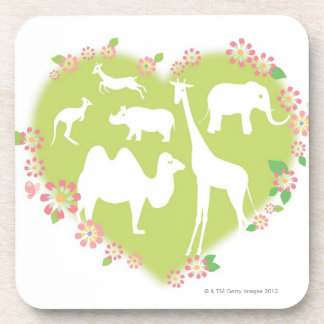 Animals in a Heart Shape Coaster