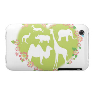 Animals in a Heart Shape iPhone 3 Case