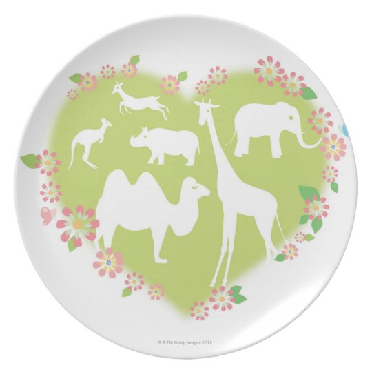 Animals in a Heart Shape Melamine Plate