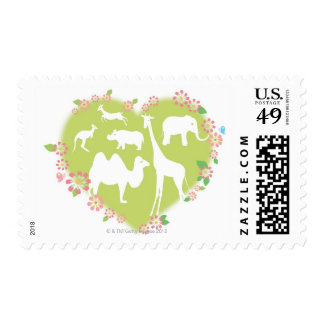Animals in a Heart Shape Postage Stamp