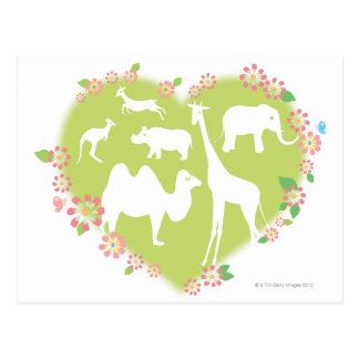 Animals in a Heart Shape Postcard