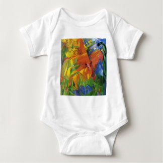 Animals in a Landscape by Franz Marc Baby Bodysuit