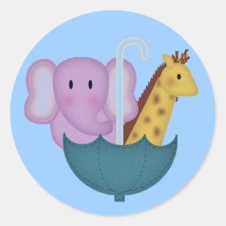 Animals in an Umbrella Stickers