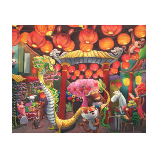 Animals in China Town Canvas Print