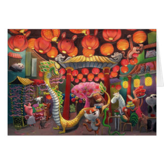 Animals in China Town Card