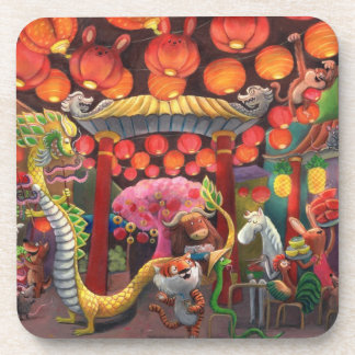 Animals in China Town Beverage Coasters