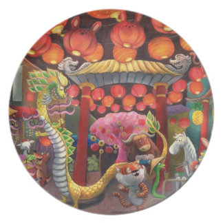 Animals in China Town Party Plates